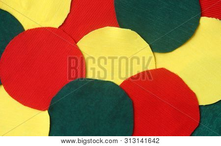 Many Circle Yellow ,red And Green Rag Fabric For Background