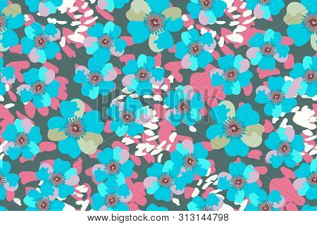 Art Floral Vector Seamless Pattern. Blue Vector Garden Flowers Isolated On Deep Green Background. Fo
