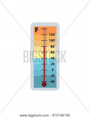 Meteorology Thermometer Isolated On White Background. Thermometer Shows Air Temperature In Fahrenhei