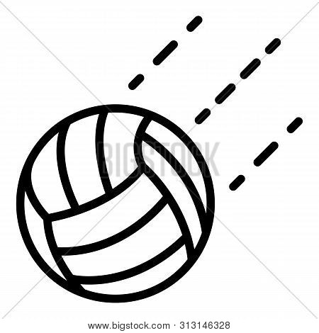 Volleyball Ball In Flight Icon. Outline Volleyball Ball In Flight Icon For Web Design Isolated On Wh