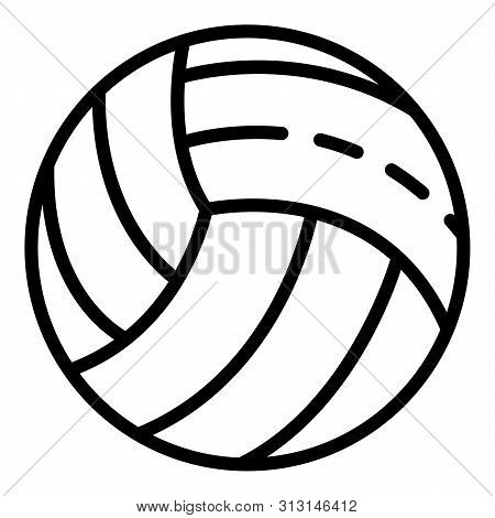 White Volleyball Ball Icon. Outline White Volleyball Ball Icon For Web Design Isolated On White Back