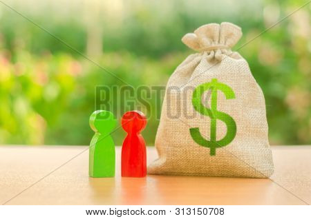 Money Bag With Dollar Symbol And Two People Figures. Investment And Lending, Leasing. Available Loan
