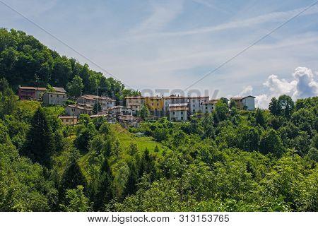 The small historic hill village of Clabuzzaro in Friuli-Venezia Giulia, north east Italy poster
