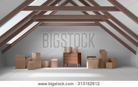House Attic Interior, Mansard Room With Cardboard Boxes And Wooden Chest Of Drawers, Empty Spacious