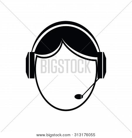Call Center Help. Customer Service Logo. Support And Contact Icon. Agent Or Operator Avatar. Man Wea
