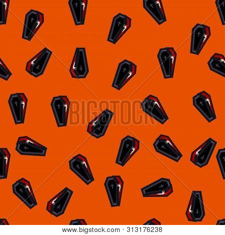 Abstract Seamless Halloween Coffin Pattern For Girls Or Boys. Creative Vector Pattern With Coffin, H