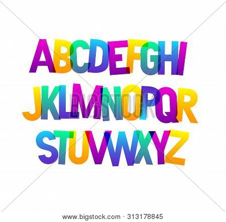 Vector Bold Bright Condensed Gradient Grotesque Font. Uppercase Letters Only