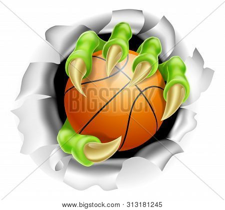 An Illustration Of A Claw Hand Holding A Basketball Ball Ripping Out Of The Background