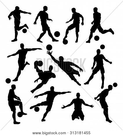 A Set Of Soccer Player Silhouettes In Lots Of Different Poses