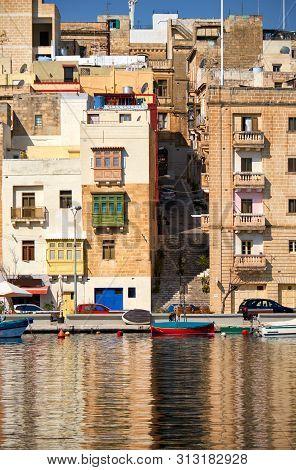 The View Of Senglea Residential Houses Over The Dahla Tad-dockyard Bay. Malta.