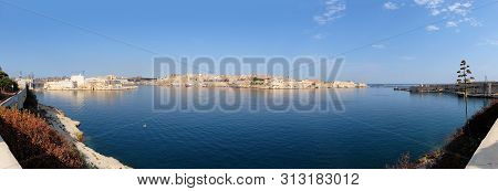 A Panoramic View Of Valetta And The Grand Harbour (port Of Valletta) On Malta.