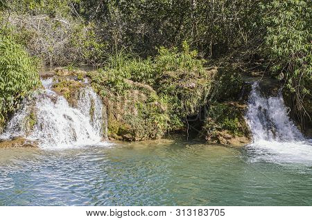 Small cascades of a river of Bonito MS, Brazil. poster