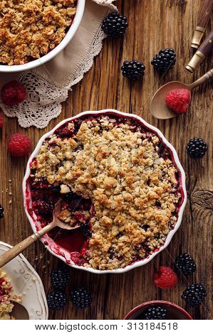 Crumble, Mixed Berry (blackberry, Raspberry) Crumble, Stewed Fruits Topped With Crumble Of Oatmeal,