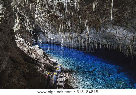 Bonito - Ms, Brazil - June 26, 2019: Indoors View Of The Monumento Natural Da Gruta Do Lago Azul (gr