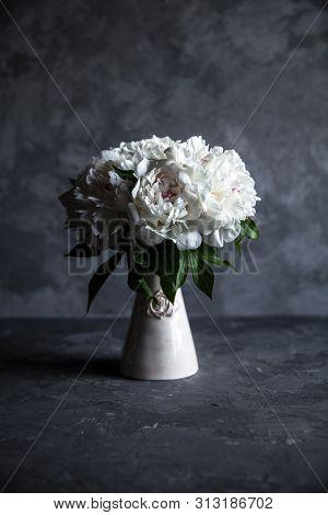 Beautiful Peonies On Grey Concrete Background Wedding, Birthday