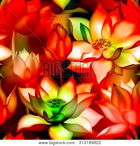 Lotus Buds And Flowers Seamless Wallpaper. Water Lilly Nelumbo Aquatic Plant Floral Graphic Design.