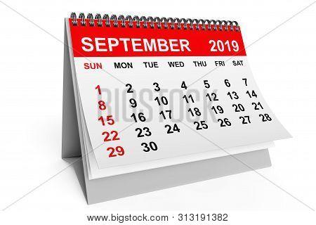2019 Year September Calendar On A White Background. 3d Rendering