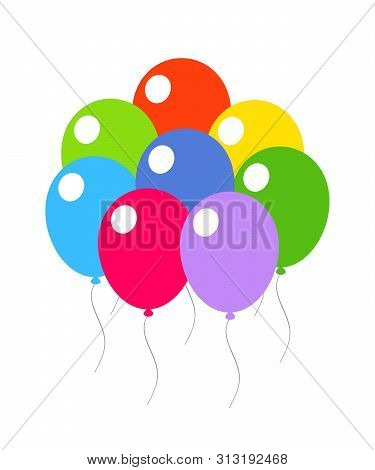 Colored Festive Balloons On A White Background. Eps 10