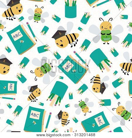 Cute Honey Bees With Books And Pencils Going Back To School. Seamless Vector Pattern On White Textur
