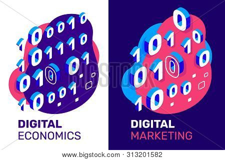 Vector Creative Illustration Of Binary Code With Text On Color Background. 3d Style Design Of One An