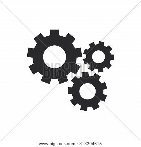 Mechanical Gears Icon Isolated On White Background. Mechanical Gears Icon In Trendy Design Style For