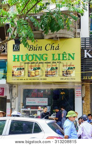 Hanoi/vietnam - July 16: Bun Cha With Grilled Pork, Rice Noodles, Vegetable And Soup In Vietnamese C