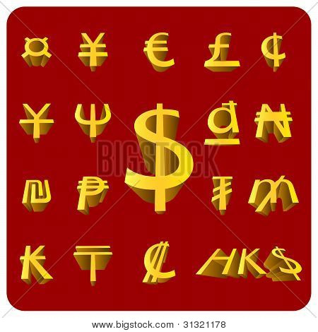 Vector 3D Currency symbol