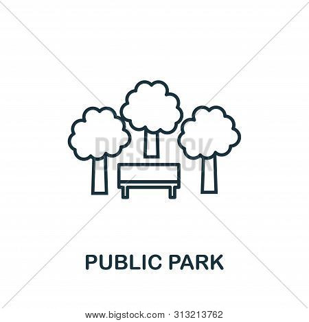 Public Park Outline Icon. Thin Style Design From City Elements Icons Collection. Pixel Perfect Symbo
