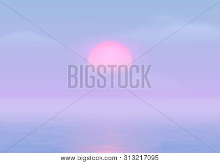 Sun Over The Sea With Sun Road And Vaporwave 90s Styled Blue And Pink Colors