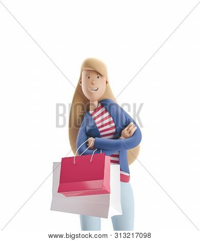 Young Business Woman Emma Standing With Bags From Stores On A White Background. 3d Illustration