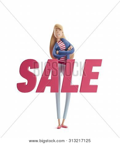 Young Business Woman Emma Standing With Big Title Sale On A White Background. 3d Illustration