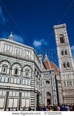 Baptistery Of St. John, Giotto Campanile And Florence Cathedral Consecrated In 1436 Against A Beauti