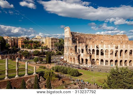 Colosseum With Clear Blue Sky And Clouds, Rome
