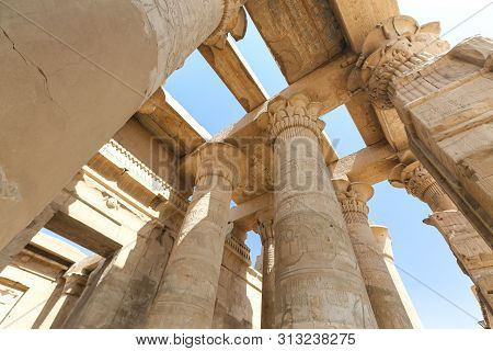 Column In Kom Ombo Temple, Aswan, Egypt
