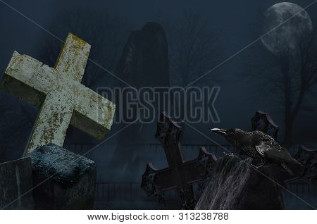 Ghost with crow in the cemetery. Halloween terrible Cemetery with old gravestones crosses, the ghost, moon and crows poster
