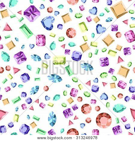 Beautiful Gems Seamless Pattern, Design For Jewelry Shops. Fashion Crystal Diamond Jewelry Pattern.