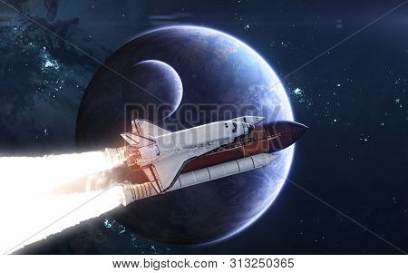 Space Shuttle Against Background Of Deep Space Planets. Exoplanets In Blue Light. Science Fiction. E