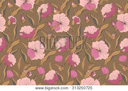 Art Floral Vector Seamless Pattern. Pink Flowers With Branches, Leaves And Petals Isolated On Dark O