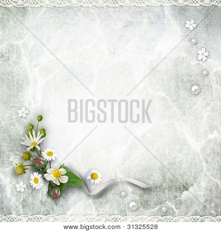 Texture Vintage Background With Flowers