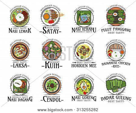 Malaysian Cuisine Isolated National Food Logos. Vector Nasi Lemak And Satay, Kerabu And Pulut Pangga