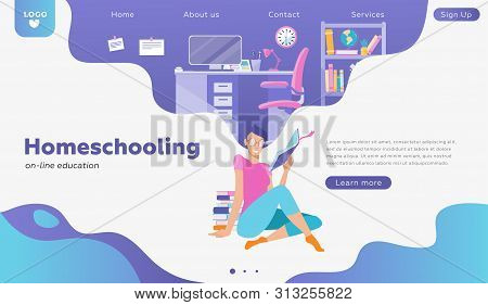 Female Student Character Study On-line. Can Use For Web Banner, Infographics, Hero Images, Landing.