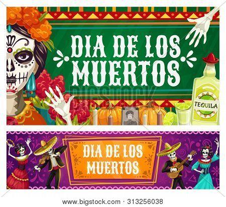 Dia De Los Muertos, Mexican Day Of Dead Fiesta, Catrina Calavera Skeletons In Sombrero Play Maracas