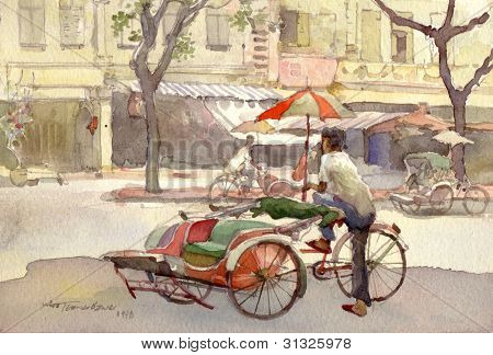 trishaw peddler watercolor