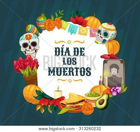 Dia De Los Muertos Altar Decorations. Mexican Day Of The Dead Vector Sugar Skulls, Catrina Calavera