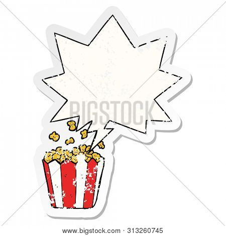 cartoon popcorn with speech bubble distressed distressed old sticker
