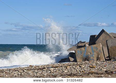 Waves dashed on the rocks