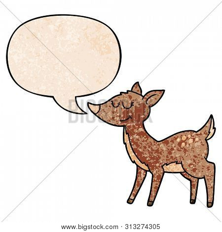 cartoon deer with speech bubble in retro texture style