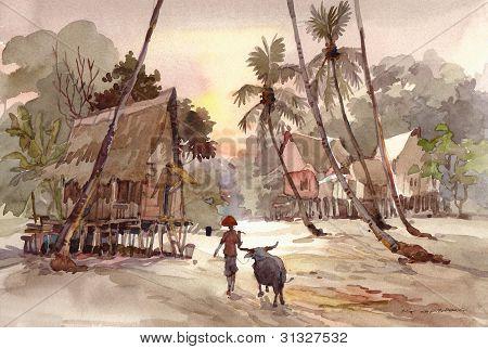 Farmer and his buffalo painting