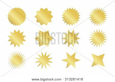 Starburst Sticker Set. Golden Sunburst Badges In Different Styles.
