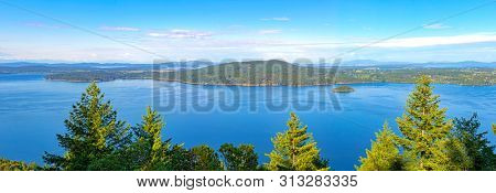 Panoramic view of the Saanich inlet and gulf islands from the Malahat summit in Vancouver Island, BC, Canada